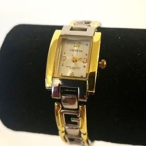 GENEVA Gold and Silver Square Face Watch NWOT